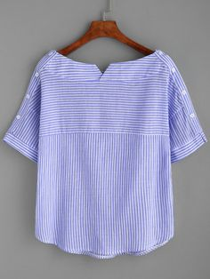 Shop Boat Neckline Striped Blouse With Buttons online. SheIn offers Boat Necklin… Shop Boat Neckline Striped Blouse With Buttons online. SheIn offers Boat Neckline Striped Blouse With Buttons & more to fit your fashionable needs. Sewing Clothes, Diy Clothes, Clothes For Women, Boat Neck Tops, Top Boat, Woman Outfits, Mode Inspiration, Collar Shirts, Collar Blouse