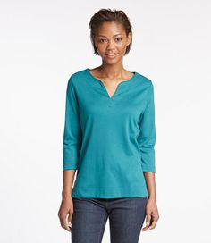 Pima Cotton Tee, Three-Quarter-Sleeve Splitneck Tunic