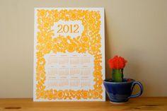 Block Printed calendar from Katharine Watson >> http://www.etsy.com/shop/ShopKatharineWatson