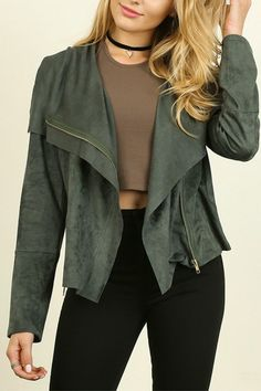 """Faux Suede Zip Up Moto Jacket in a beautiful Forest Green is just the piece to add to your fall and winter style! Moto Jackets are very much on-trend for 2016! *Model is 5'7"""" and is wearing a small.Hand Wash Cold - Line Dry    Small = 2/4 Bust 35-36, Waist 27-28, Hip 36-37 Medium = 6/8 Bust 37-38, Waist 29-30, Hip 38-39 Large - 10/12 Bust 39-40, Waist 31-32, Hip 40-41   Faux-Suede Moto Jacket by Umgee USA. Clothing - Jackets, Coats & Blazers - Jackets Colorado"""