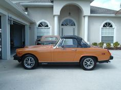 1976 MG Midget in Butterscotch. Mine spun the rod bearings, I had the crank machined and did the job in the driveway.
