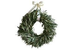 "16"" Olive Wreath w/ Ivory Ribbon, Live"