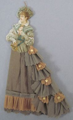 "Vintage Victorian ""dressed"" doll ornament sold on eBay for 103.00 see more about it at http://www.ekduncan.com/2012/12/vintage-dresden-and-pressed-cardboard.html"