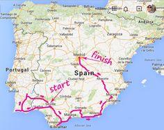 The ultimate road trip through Andalucia, Spain, Iberian Peninsula Toulouse, Spain Road Trip, Road Trip Map, Andorra, Pamplona, Portugal, Murcia, Bilbao, Alicante