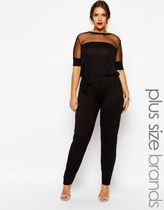 Club L Plus Size Mesh Insert Jumpsuit--- IM CRUSHINGGGGGGGGGG