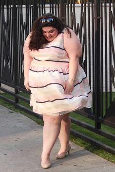 Nautical Inspired Blush Dress. Awesome plus size fashion blog. @Gwynniebee