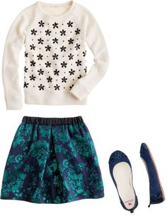 """""""Girls' Jacquard Skirt"""" by audreycastro on Polyvore"""