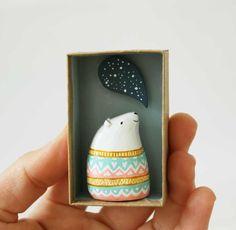 Animal figurine - Paper clay art object - Ursus the astrologer polar bear - Pocket box miniature scene. £30.00, via Etsy.