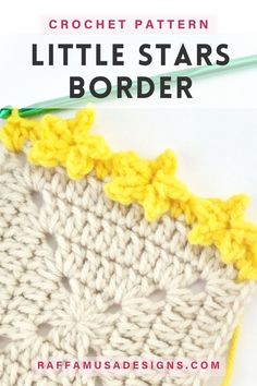 """This new """"Little Stars"""" border is made with many little crochet stars. This edging pattern is perfect for your Christmas and holiday projects, baby blankets, home decor items, and much more. Worked in a similar way to the most known heart and flower borders, this crochet edging can be a nice little addition to your crochet border library! Get the free pattern and tutorial by tapping on the pin image! Crochet Borders, Crochet Stitches, Free Crochet, Crochet Patterns, Crochet Stars, Pin Image, Little Star, Free Pattern, Projects"""
