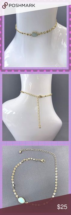 """☀️Gold Choker With A Single Mint Stone☀️ ☀️GORGEOUS Gold Alloy Choker with a Single Mint Stone. This choker is stunning, with little gold discs leading up to the Light Mint Colored Stone. Nickel & Lead Free! Approx. 10"""" Long with 5"""" Extension! This should fit any size neck out there! Perfect accessory for Spring & Summer☀️ Boutique Jewelry Necklaces"""