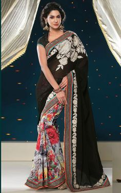 BLACK GEOGETTE LATEST SAREE - SHRI 5115