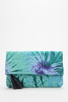 Kimchi Blue Palm Print Fold-Over Clutch  #UrbanOutfitters
