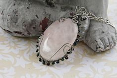 Rose Quartz Cabochon Necklace - Rose Quartz Crystal Pendant - Wire Wrapped Rose Quartz Stone - Large Pink Quartz Bridal Necklace - For Her by FairyJewelryBox on Etsy