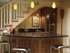 Basement Design, Comely Small Basement Remodeling Ideas For Wet Bar Ideas With Cool Yellow Pendant Lights Also Stainless Steel Bar Stool And Bottle Wine Glass Wooden Cabinet Black Marble Countertop Stair Case Ashtray: Small Basement Remodeling Ideas Become a Bar