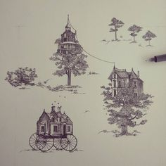 """ De un país lejano "" #Himallineishon #drawing #illustration #staedler #house #tree"
