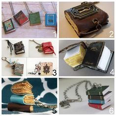 truebluemeandyou: Roundup of DIY Mini Book Jewelry Tutorials: DIY Easiest Book Cover Pendants Ever Tutorial (Two Butterflies) here. MY FAVO. Book Jewelry, Diy Jewelry, Jewelry Making, Jewellery, Nerd Jewelry, Jewelry Ideas, Mini Books, Collar Diy, Stacked Necklaces
