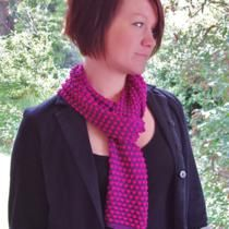 Knitted silk/viscose hand dyed bobble scarf in marine violet