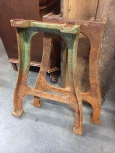 Delicieux Vintage Industrial French Cast Iron Table Legs # 949