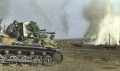 A Panzerjager 1 firing on a enemy tank on color