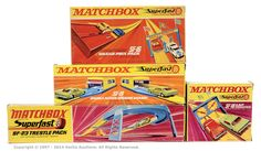 Matchbox Superfast group of Track Accessories. (1) SF16 Grand Prix pack, (2) SF18 Lap Counter complete, (3) SF19 Double Action Opening Garage, (4) SF23 Trestle Pack.
