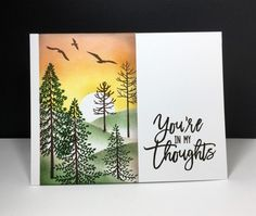 handmade sympathy card: Thoughtful Branches by beesmom on Cards and Paper Crafts at Splitcoaststampers ... one layer card with a masked off panel .. lovely sunset scene sponged  and stamped on ... Stampin' Up!