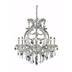"Elegant Lighting 2800D28C/EC Maria Theresa Collection Dining Room Hanging Fixture H32.5"" x D28.5"" Chrome Finish (Elegant Cut Crystals)"