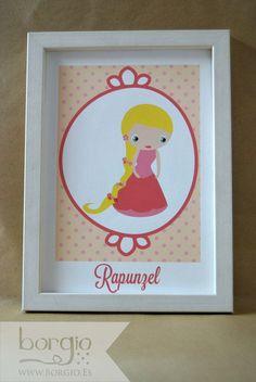 """Rapunzel, de la colección """"Kawaii Princess"""" Disponible en: http://www.borgio.es/laminas-infantiles/"""