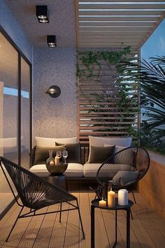 Attractive balcony with parquet hardwood and modern garden furniture. - Attractive balcony with parquet hardwood and modern garden furniture. Small Balcony Design, Tiny Balcony, Small Balcony Decor, Balcony Garden, Modern Balcony, Garden Table, Small Balconies, Modern Pergola, Terrace Design