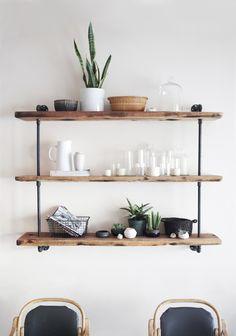 DIY rustic feature shelf.