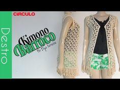 [Destro] Kimono Barroco em crochê   BYA FERREIRA - YouTube Crochet Granny, Crochet Baby, Free Crochet, Crochet Top, Crochet Jacket, Crochet Cardigan, Crochet Videos, Short Tops, Crochet Clothes