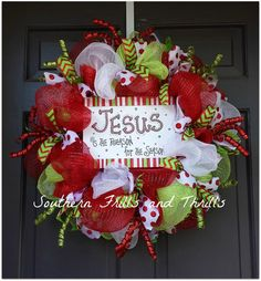 Merry Christmas and Happy Holidays!! Jesus Is The Reason For The Season!! This wreath is perfect for your front door to welcome your family and