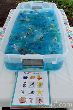 I spy game with a sensory bin!! Can use for the younger kids with the ABC's of Christ.