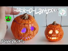 Polymer Clay - Halloween Jack O' Lantern Tutorial - TIP: Place the LED candle flame side down for a better look.
