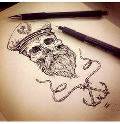 Nice #tatt for a guy imo, love it! :) #tattoo #vintage #sailor #beard