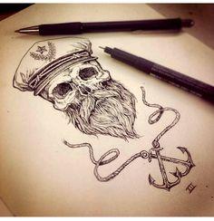 Nice #tatt for a guy imo, love it! :) #tattoo #vintage #sailor #beard