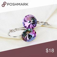 "Purple Austrian Crystal Platinum Plated Earrings Purple Austrian Crystal Real Platinum Plated Earrings . Fashion Earrings / Water Drop / Dangle / Vintage / Crystal   •Materials: 100% Real Platinum Plated, AAA+ Cubic Zirconia Stone •Main Gem Size: 0.47"" •Condition: New Jewelry Earrings"