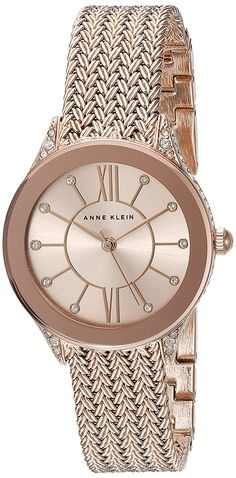 Anne Klein Women's AK/2208RGRG Swarovski Crystal Accented Rose Gold-Tone Mesh Bracelet Watch -- Click image for more details.