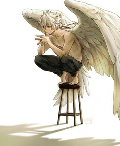 Yes a cringy name but he is nice and a mentor/advisor to Jacob. Although he doesn't get along with angels of death. Fantasy Kunst, Fantasy Art, Character Inspiration, Character Art, Wings Drawing, Anime Kunst, Art Reference Poses, Angel Art, Boy Art