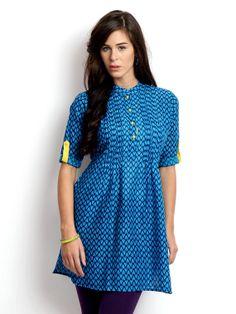 Women Blue Printed Kurta by ShopOfIndia on Etsy, $69.99