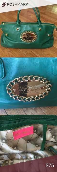 "NWOT BETSY JOHNSON GREEN BAG/TOTE BETSY JOHNSON super soft green leather bag with gold embellishments! Dimensions 16 x 10 x 4 1/2""!! It is impeccable inside! Betsey Johnson Bags Totes"