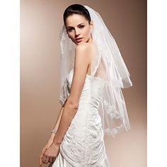 Two-tier Elbow Wedding Veils With Lace Applique Edge – USD $ 14.99