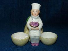 Belle figurine ancienne saleron / moutardier en Porcelaine de France