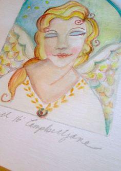 Original Painting Angel n Stars Sweet Portrait Folk Art Watercolor Miniature…