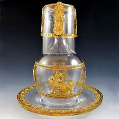 Antique French Glass & Ormolu Mounted Tumble-Up Decanter Set with Tray