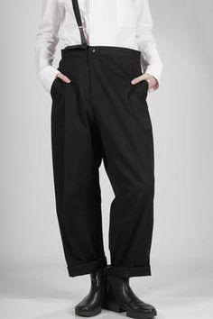 Y's Yohji Yamamoto | soft trousers in cotton canvas and crumpled viscose | #ysyohjiyamamoto