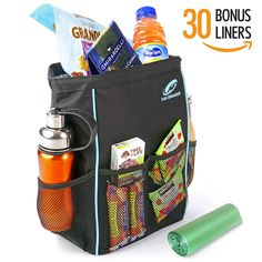 Car Organizer BL-AQ Leak Proof Car Trash Can Bundle with 30 Disposable Liners, 13 x 5 x 9-Inch, Black and Aqua -- Details can be found by clicking on the image.