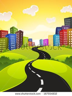 City Road/ Illustration of a cartoon city road driving downtown in spring or summer season, with fields, bush and meadows and shiny sky
