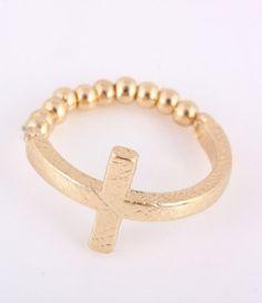 www.sophiesjewellerybox.co.uk , Gold stretch cross ring, Skulls and Bones