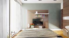 Interior Design, Glass Sliding Door Bedroom Tv Cabinet With Bookshelves Brown Light Wooden Floor Blanket Wooden Door And Bed ~ Exquisite Warm Interior Design Applied with Contemporary Design