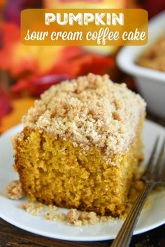 Pumpkin Sour Cream Coffee Cake: an extra moist pumpkin spice cake (made from scratch) is topped with an amazing cinnamon crumb topping! Serve it with coffee for breakfast or for dessert! #Pumpkin #CoffeeCake #Dessert #Cake